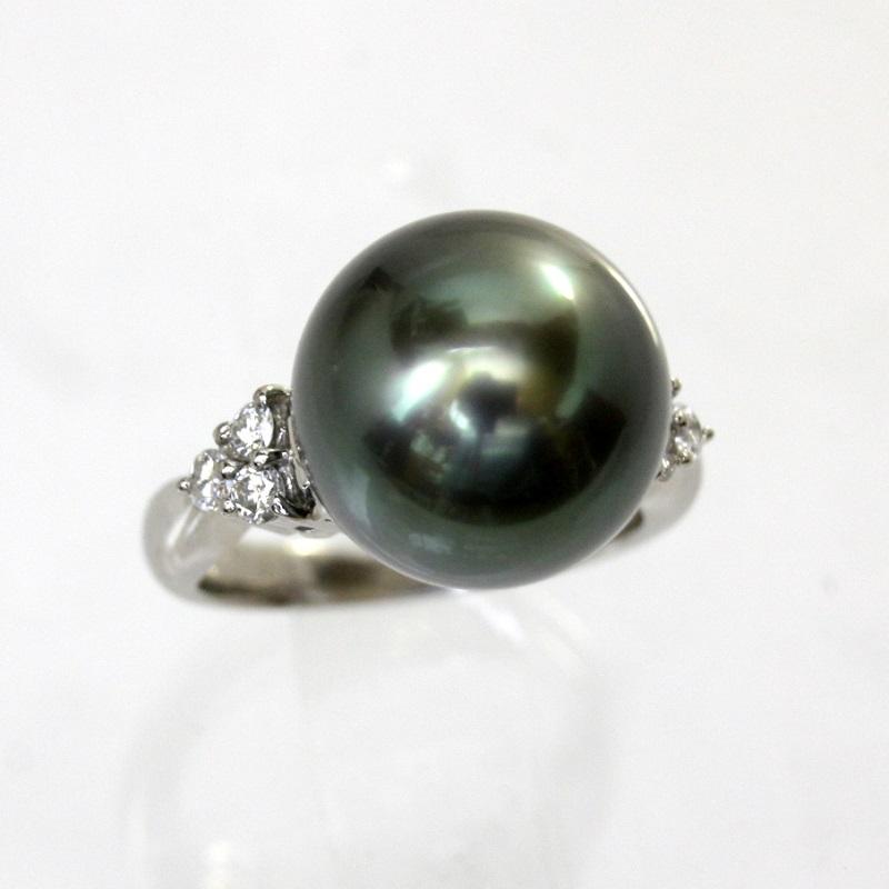 【中古】 プラチナ 真珠 12.2mm ダイヤ 0.19ct リング 9号