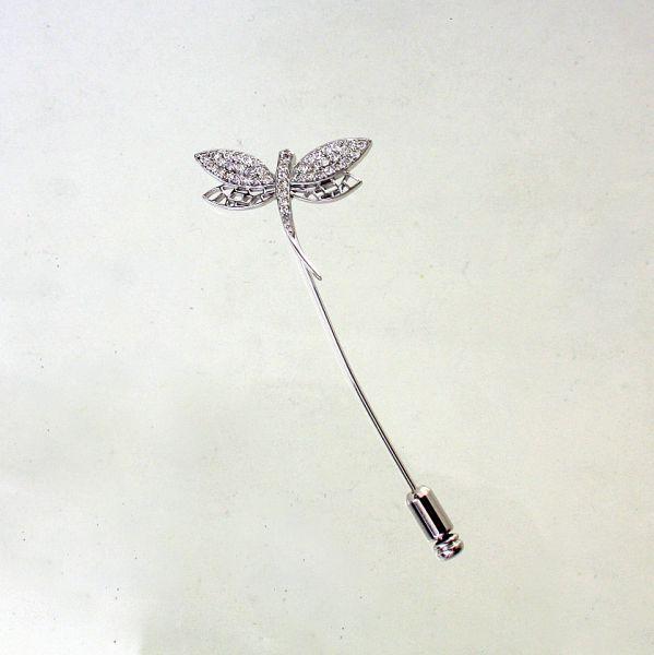 【中古】 18金WG ダイヤ 0.50ct トンボデザイン ピンブローチ