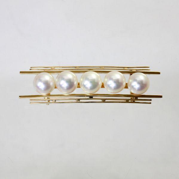 【中古】 18金枠 アコヤ真珠 帯留 【三分紐用】