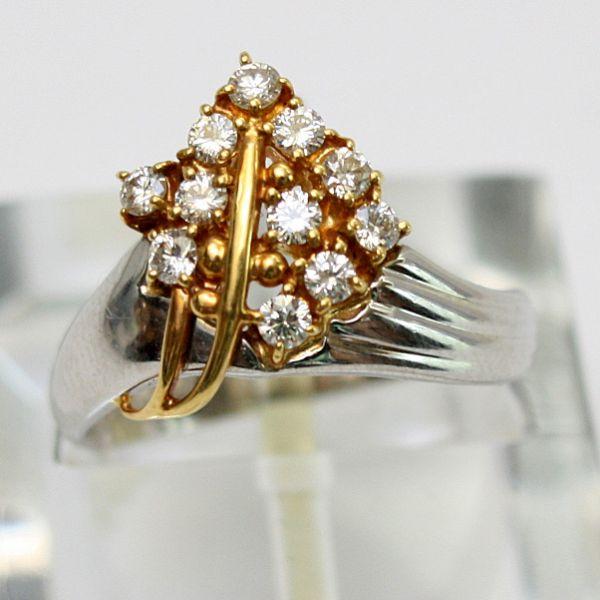 【中古】 18金&プラチナ ダイヤモンド 0.33ct リング 12号
