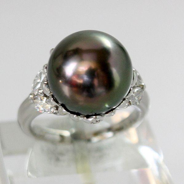 【中古】 プラチナ タヒチ黒真珠 12.0mm ダイヤ リング 11号