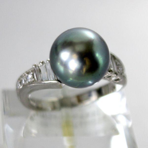 【中古】 プラチナ タヒチ真珠 11.0mm ダイヤ リング 12号