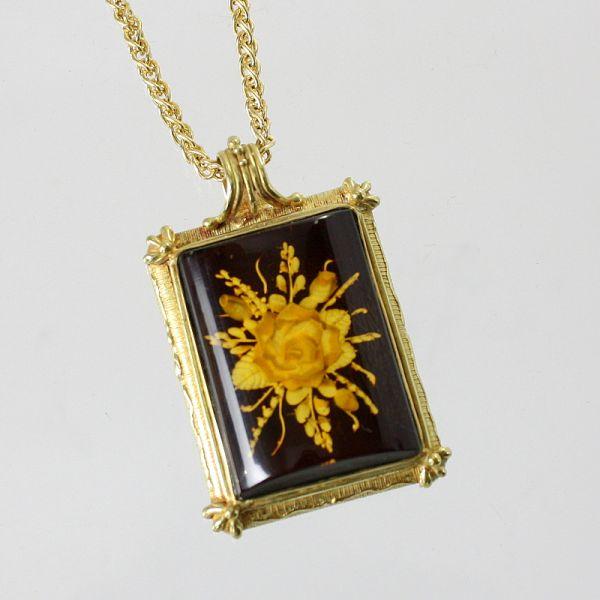 【中古】 18金 イタリア製 コハクペンダント付ネックレス