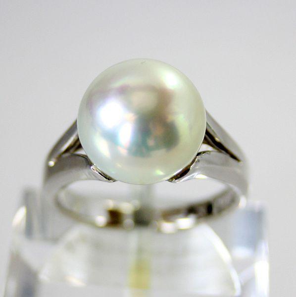 【中古】 プラチナ タヒチ真珠 11.2mm リング 11.5号