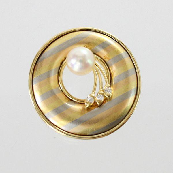 【中古】 18金スリーカラー アコヤ真珠 6.8mm ペンダント