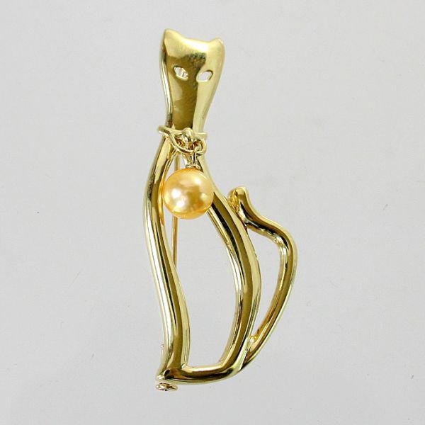 【中古】 18金 ゴールデンパール 猫デザイン ブローチ