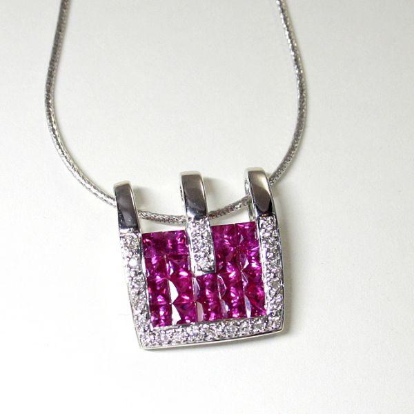 【中古】 18金WG ルビー 2.60ct ダイヤ 0.18ct ペンダント付ネックレス