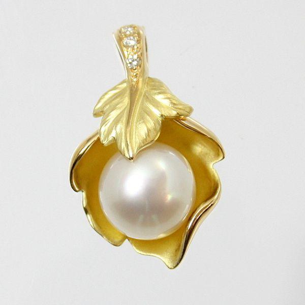 【中古】 18金 ダイヤ付 真珠 12.0mm ペンダント