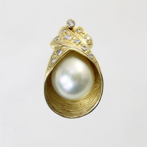 【中古】 18金 真珠 11.0mm ダイヤ 0.16ct ペンダント