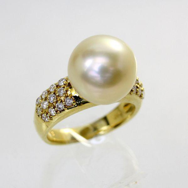 【中古】 18金 真珠 11.5mm ダイヤ 0.40ct リング 11号