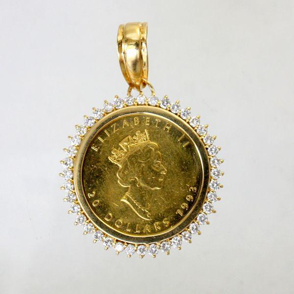 【中古】 18金枠 ダイヤ 1.36ct 2分の1オンス 純金コイン ペンダント