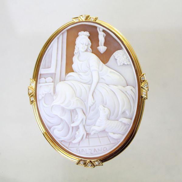【中古】 18金枠 ダイヤ 0.155ct シェルカメオ ブローチ&ペンダント