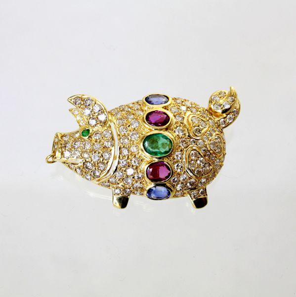 【中古】 18金 マルチストーン 豚デザイン ブローチ&ペンダント