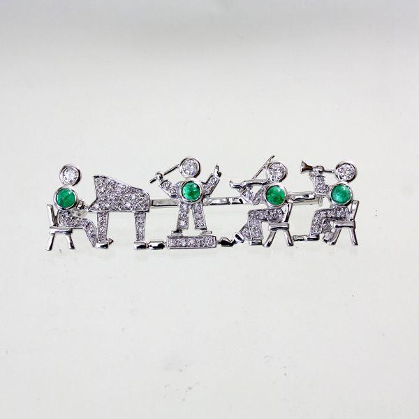 【中古】【未使用品】 18金WG エメラルド&ダイヤ オーケストラデザイン ブローチ