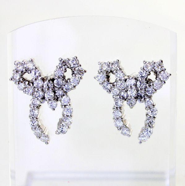 【中古】 プラチナ ダイヤ 1.30ct リボンデザイン ピアス