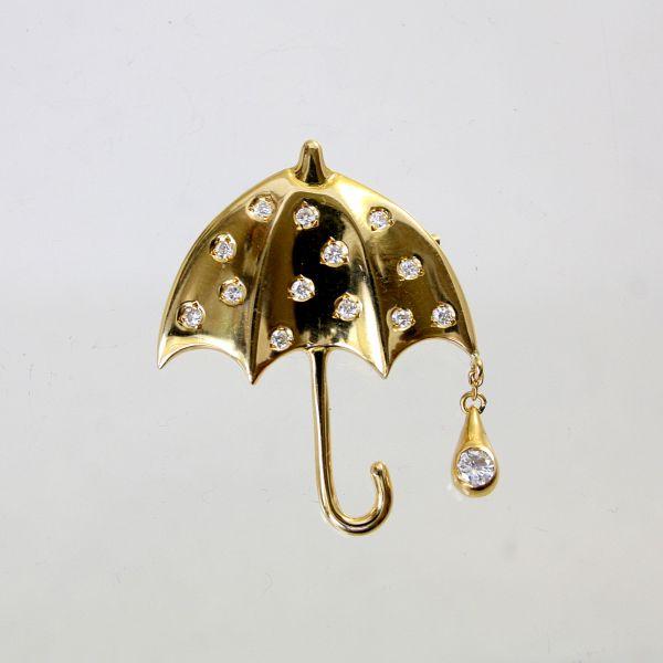 【中古】 18金 ダイヤ 0.22ct アンブレラデザイン ブローチ&ペンダント