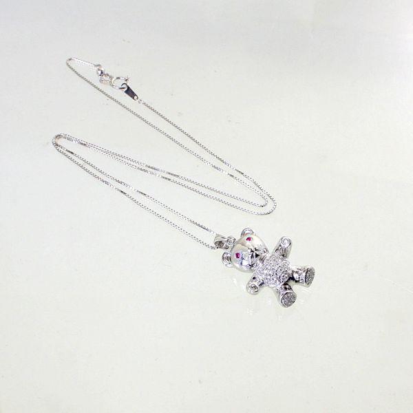 【中古】 18金WG ルビー&ダイヤ くまデザイン ペンダント付ネックレス