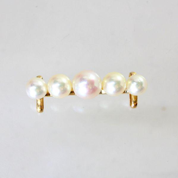 【中古】 18金枠 真珠 帯留