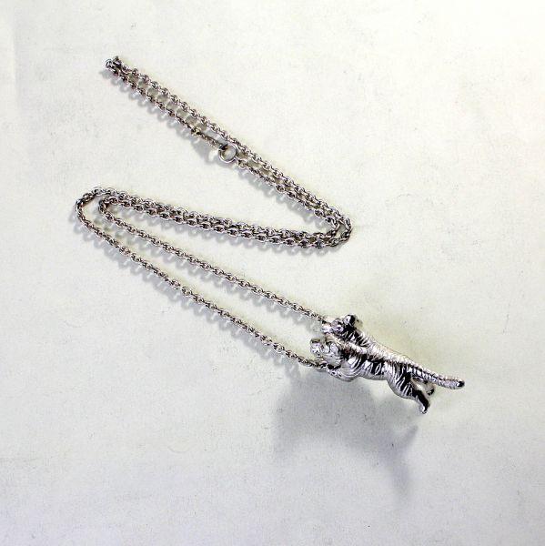 【中古】 18金WG 双頭の虎デザイン ネックレス