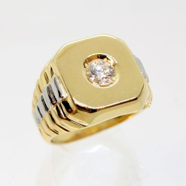 【中古】 18金,プラチナ ダイヤ 0.527ct メンズリング 16.5号