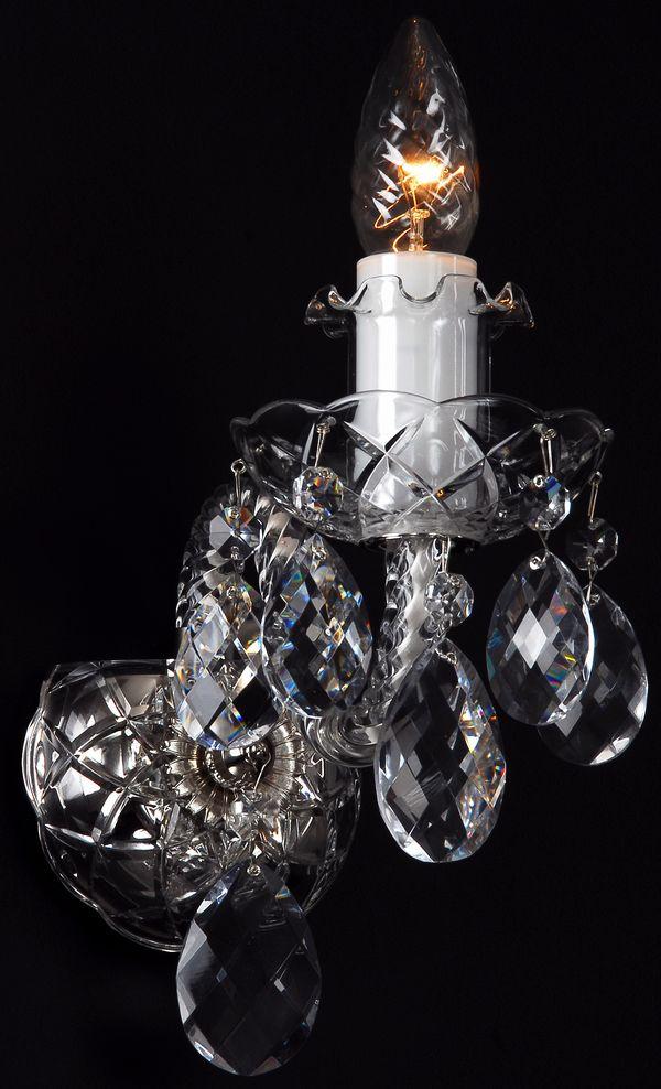 【送料無料】本物のクリスタル ブラケットを買う絶好のチャンス!本場チェコ製ボヘミア クリスタル100%1灯ブラケット シャンデリア W-01S◆最安値挑戦中!シルバー タイプ/高級 輸入(インポート)LED電球 対応 照明