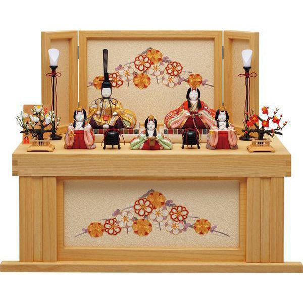 【送料無料】一秀作木目込み人形五人飾り 安土雛172号A・桐収納 I-31