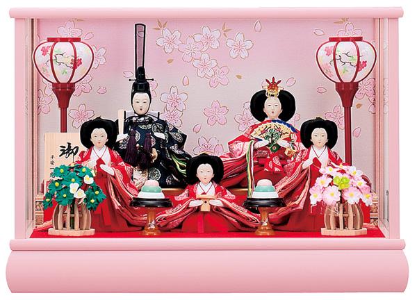【お顔がきれい】【送料無料】雛人形ケース入り 小芥子、五人飾り 結衣 No2