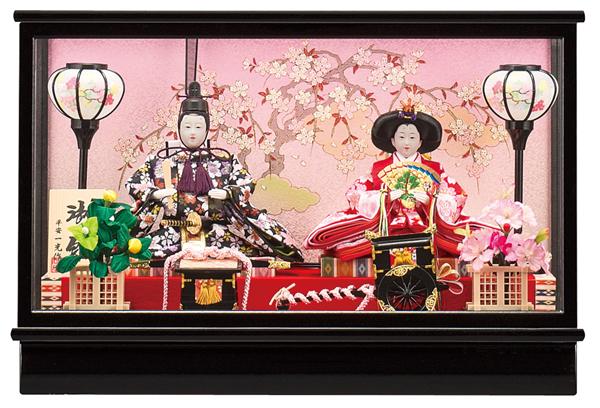 【お顔がきれい】【送料無料】雛人形ケース入り 芥子、親王飾り 杏 No5