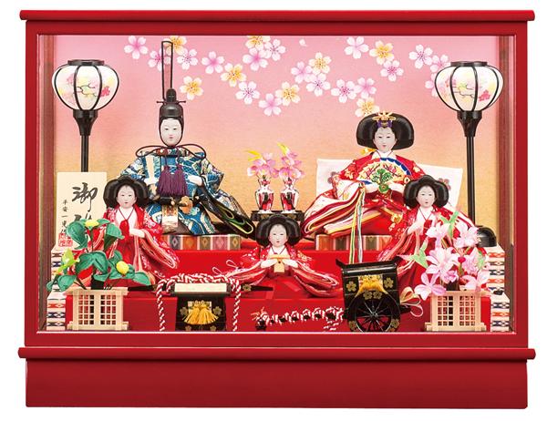 【お顔がきれい】【送料無料】雛人形ケース入り 芥子、五人飾り  No11