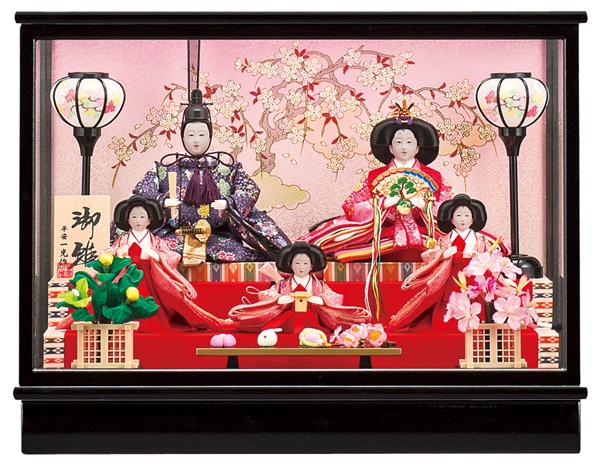 【お顔がきれい】【送料無料】雛人形ケース入り 芥子、五人飾り 杏 No12