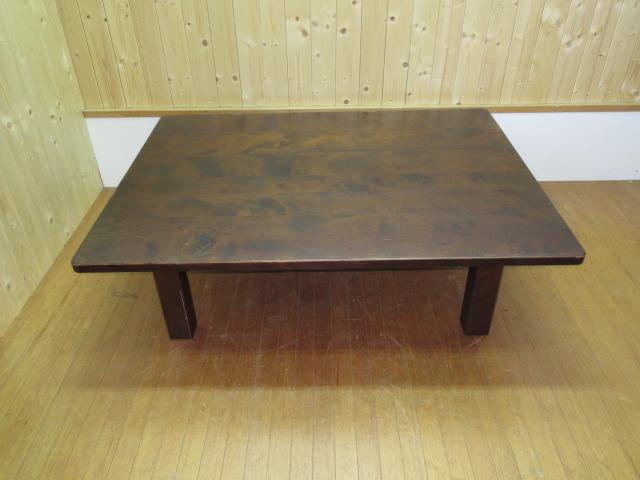 【中古】 北海道民芸家具 座卓テーブル 木製 ローテーブル 和風      リビングテーブル センターテーブル 幅120cm 机      食卓テーブル ダークブラウン 天然木