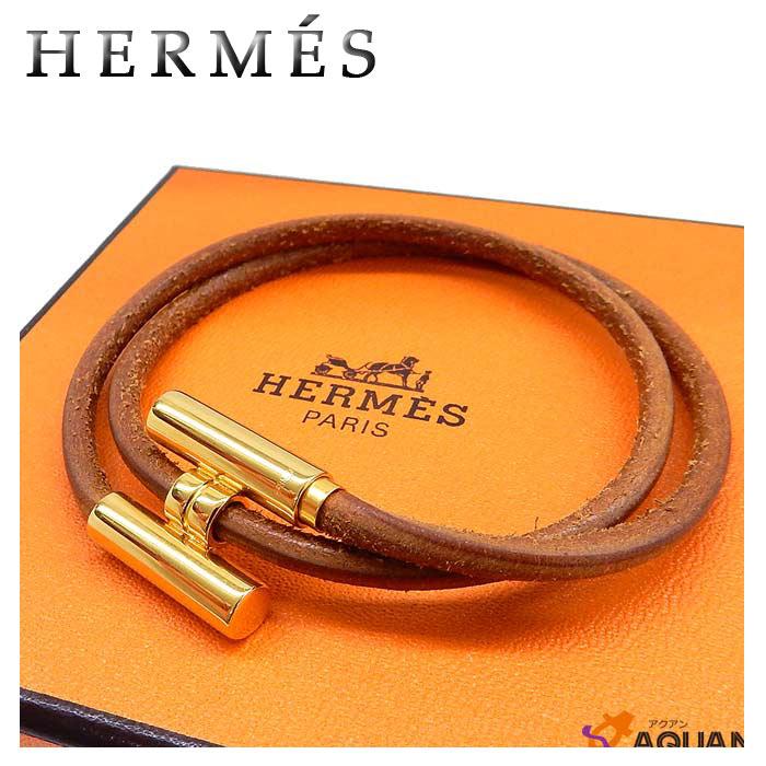 エルメス HERMESトゥルニス レザー ブレスレットバングル ブラウン×ゴールド男女兼用 アクセサリー 【中古】エルメス アクセサリー ブレスレット aq847