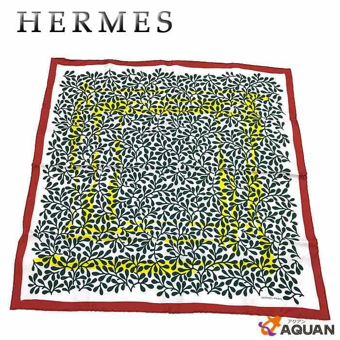 レア物!希少品!HERMES エルメスカレ70 スカーフリーフ柄 葉っぱ白・緑・赤・青シルク100% 保存箱付きレディース 女性【美品】【中古】エルメス スカーフ aq757