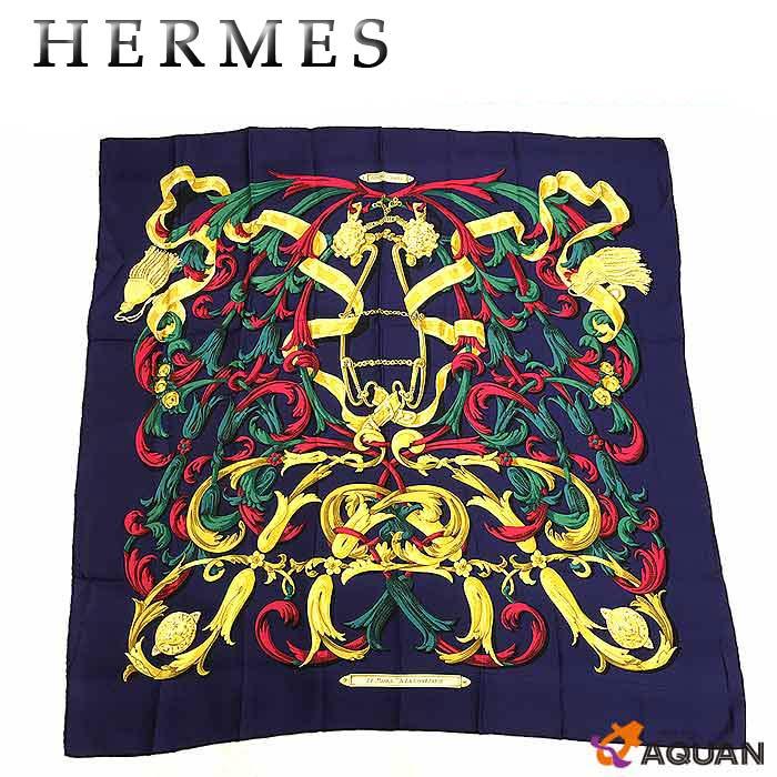 スーパーSALEHERMES エルメスカレ90 スカーフLE MORS A LA CONETABLE 轡の気品ネイビー系シルク100% レディース 女性【中古】エルメス スカーフ aq815