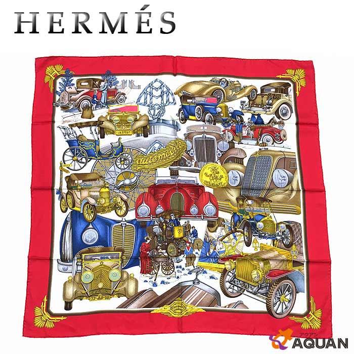 スーパーSALE!!HERMES エルメスカレ90 スカーフautomobileオートモービル 車ホワイト×レッド シルク100%【中古】エルメス シルクスカーフ aq1041