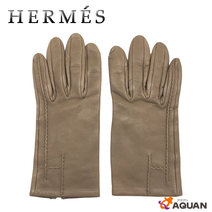 aq1711【送料無料】【送料込み】HERMES エルメス手袋 グローブ サイズ6ETOUPE エトープラムスキン 箱付き【美品】【中古】エルメス レディース 服飾小物