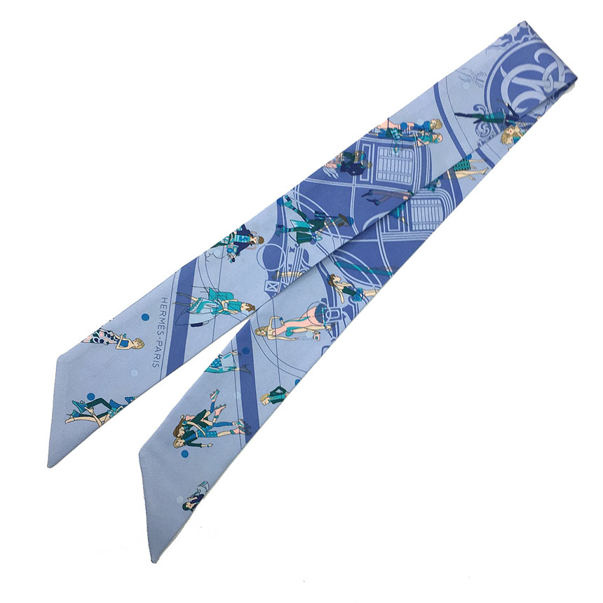 送料無料 あす楽対応HERMES 最新号掲載アイテム スカーフ 中古 公式ショップ HERMES エルメス ツイリー EX-LIBRIS LES PARISIELU エクスリブリス パリジェンヌ ブルー ターコイズ 箱付き 2020春夏コレクション レディース Scarf シルク100% シルクスカーフ aq4807 Twilly 女性