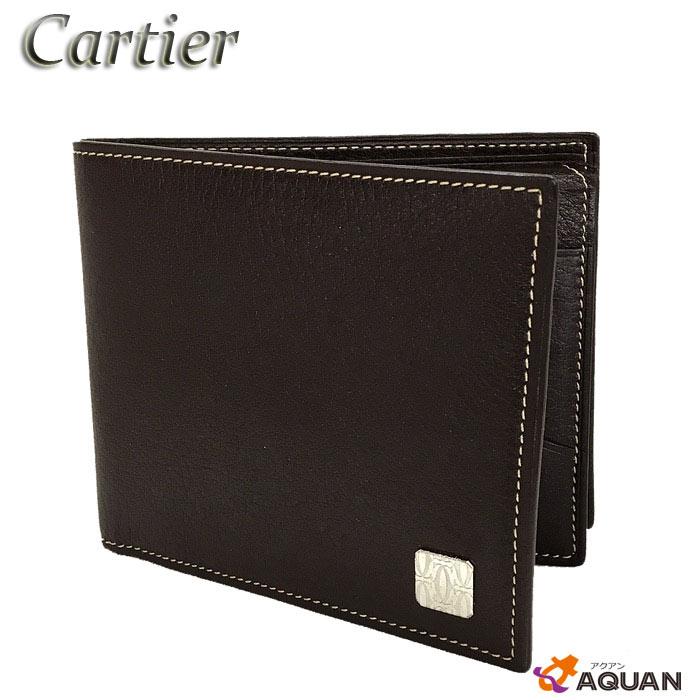 スーパーSALE!!Cartier カルティエ折財布 札入れレザー ブラウン【中古】カルティエ メンズ 財布