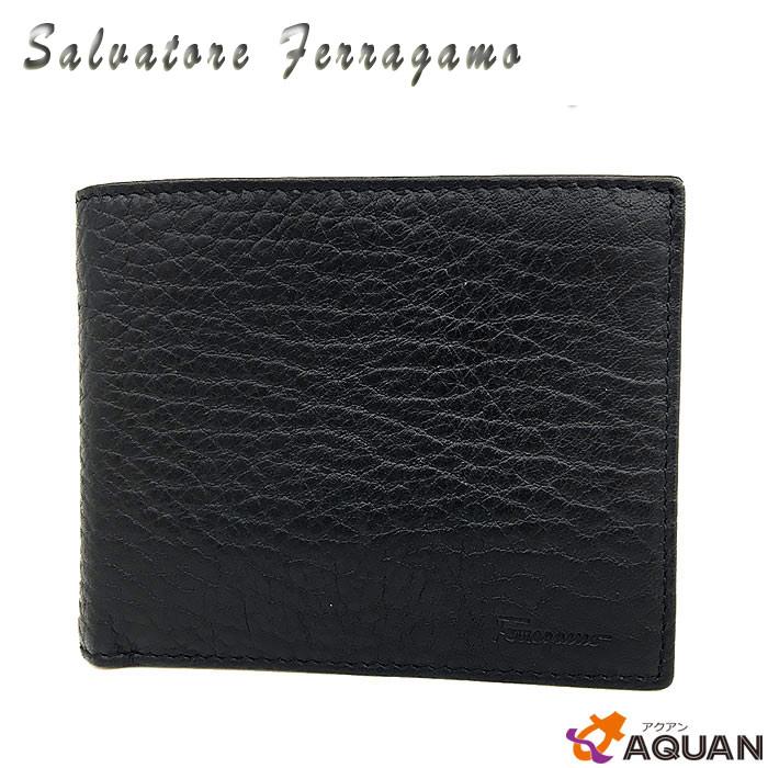 aq179サルヴァトーレ・フェラガモSalvatore Ferragamo二つ折財布 メンズ札入れ レザー ブラック 黒【美品】フェラガモ 財布 メンズ