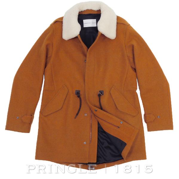 プリングル1815 PRINGLE 1815 コート メルトン オレンジ 着脱 ボアカラー付き モッズ風 40サイズ L相当S52948