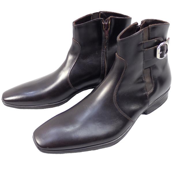 【アウトレット品】アレグリ allegri ブーツ サイドゴア ジップ MAURIZ 別注 焦茶 訳あり 40サイズ 約25.0cmS10110