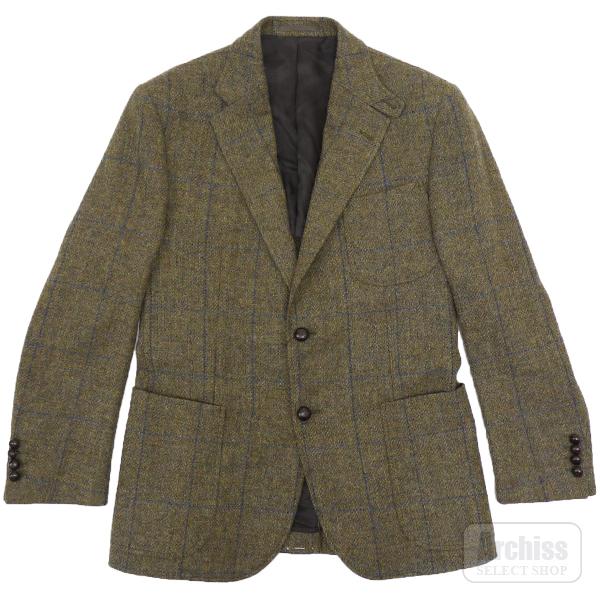 マッキントッシュロンドン MACKINTOSH LONDON ジャケット カーキ ツイード ブルー 格子柄 英国製 生地 ウール 2ボタン 90A4 胸囲90 胴囲78 身長165 紳士S50405