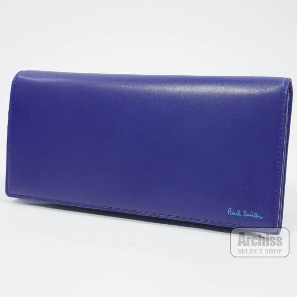 ポールスミス Paul Smith 長財布 ブルー ライトブルー ロゴ 内側 アクセント カラフル クラシック メンズ 紳士 PSC106-30S61955-56