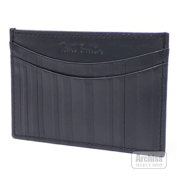 ポールスミス Paul Smith カードケース 黒 マルチストライプ 型押し レザー イタリア製 PSL050-10 メンズ 紳士S62025