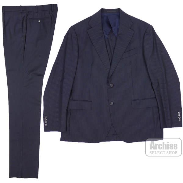 マッキントッシュロンドン MACKINTOSH LONDON スーツ 背抜き 濃紺 シャドウ ブロック ストライプ イタリア製生地 2ボタン BB5サイズ BB6サイズ BB7サイズ G1H27-500-29 日本製S62516・17・18