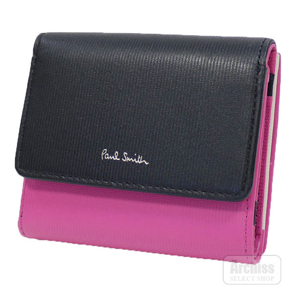 ポールスミス Paul Smith 3折財布 三つ折り 三つ折財布 ローズピンク 黒 ブラック ストライプ CB コンパクト レディース 婦人 PWD115-23S62772