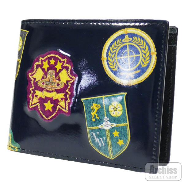 ヴィヴィアンウエストウッドVivienne Westwood 2折財布 二つ折り 二つ折財布 黒 ブラック 光沢 レザー オーブ エンブレム 立体 プリント デザイン メンズ 紳士 VWK350-10S62905-06