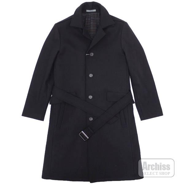 【アウトレット品】ティノラス TENORAS ロング コート 黒 ベルト付き ダブル カラー 中綿入り 2枚襟 シングル Sサイズ TW-6507 メンズ 紳士 訳ありS53913
