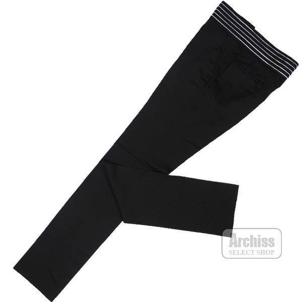 【アウトレット品】ポールスミス Paul Smith スラックス パンツ 黒 ブラック ウエスト 5本 ホワイト ライン アクセント スラックス パンツ 訳あり Mサイズ PF-SL-78699-990S63317-18