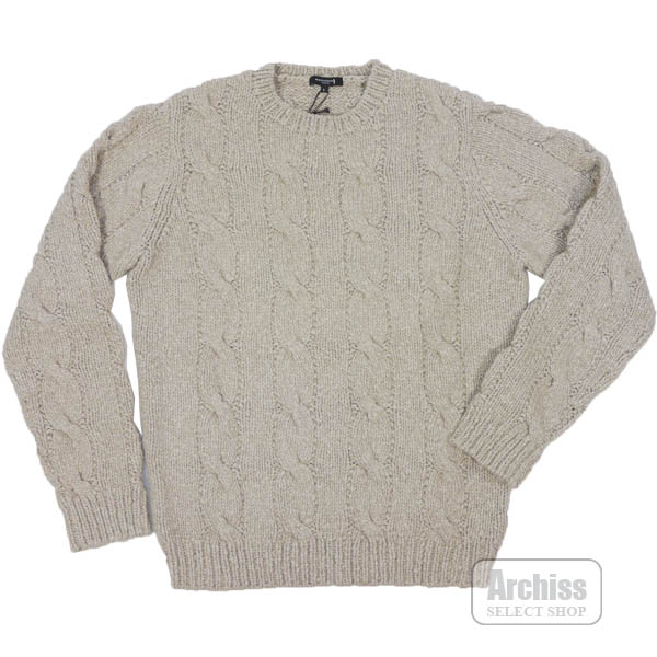 マッキントッシュロンドン MACKINTOSH LONDON ニット セーター ベージュ 霜降り カシミヤ 100% フィッシャーマン柄 アラン Lサイズ G1N11-652-42S63604